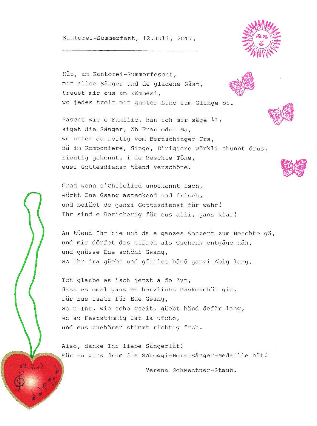 Gedicht Kantorei Regensdorf